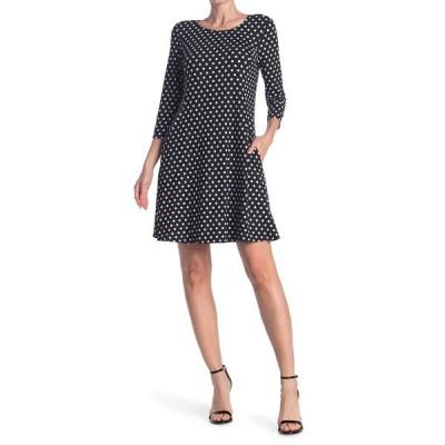 タッシュプラスソフィー レディース ワンピース トップス 3/4 Sleeve Scoop Dress BLACK/WH