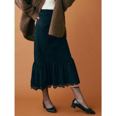 dazzlin スウェードライクラップマーメイドスカート(ブラック)
