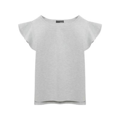 リエディ Re:EDIT [リエディ]ショルダーフリルリラックスポンチトップストップス/カットソー・Tシャツ (杢グレー)