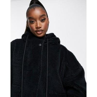 バーレイ レディース ジャケット・ブルゾン アウター Varley Montalvo hooded faux shearling jacket in black