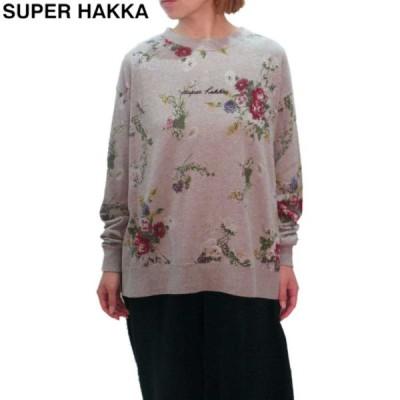 SUPER HAKKA(スーパーハッカ) 「ONE MILE WEAR」(ルームウェア)ヴィンテージフラワーブーケプリントトレーナー スウェット レディース 花柄 長袖 HAKKA ハッカ