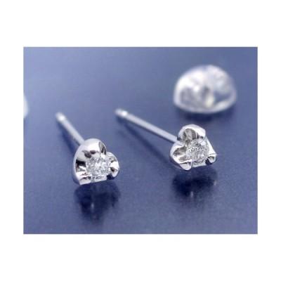 ダイヤモンド ピアス 0.1ct プラチナ Pt950 ハート枠 金属アレルギー対応 レディース スタッドピアス ダイアモンド 両耳用 仕事用 4月誕生石
