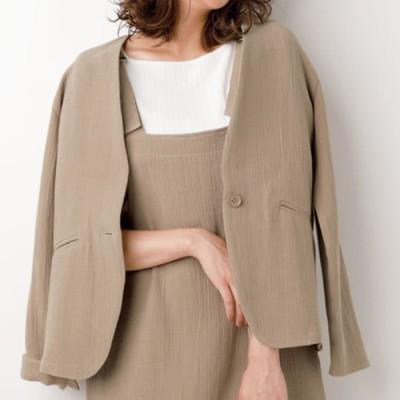 ベルーナ 綿100%ふっくら織柄大人ジャケット モカ LL レディース