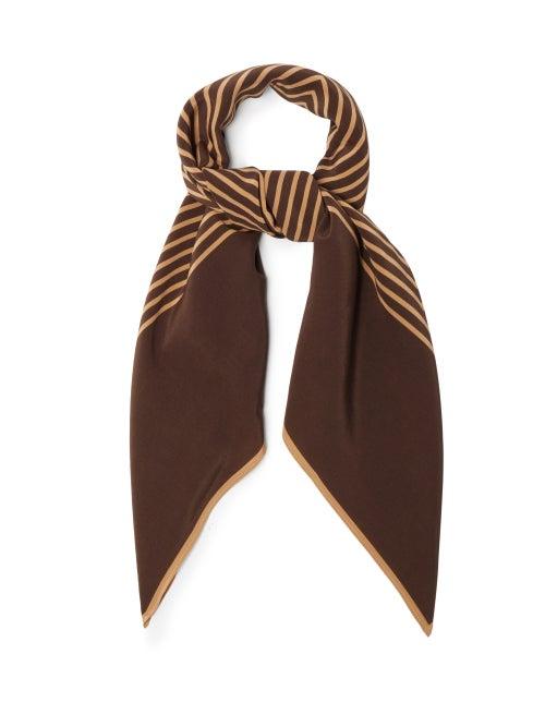 Totême - Monogram-print Silk Scarf - Womens - Brown Multi
