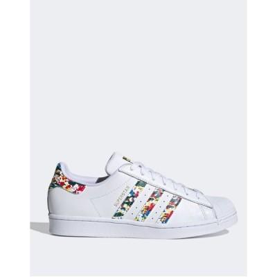 アディダスオリジナルス メンズ スニーカー シューズ adidas Originals Superstar sneakers in white with paint splatter White