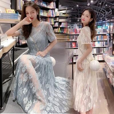 ウェディングドレス カラー 花嫁二次会 ドレス ドレス マキシワンピ マキシワンピース レースワンピース 春 結婚式 花柄 レディースワンピース 韓国風 チュール