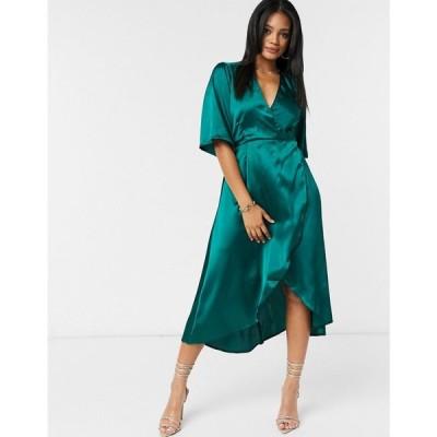 アックスパリス AX Paris レディース ワンピース ミドル丈 ワンピース・ドレス kimono midi dress in green satin グリーン