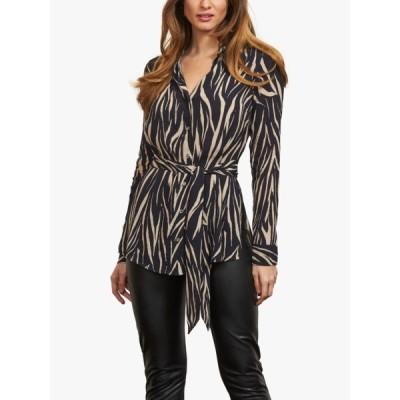 ソサンダール シャツ レディース トップス Sosandar Zebra Belted Shirt, Black/Cream