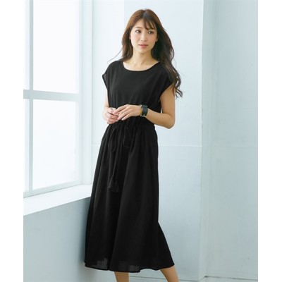 【夏に使える】ウエストシャーリングロング丈ワンピース (ワンピース)Dress