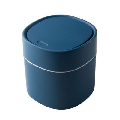 スナップ式ふた付きのリビングルームデスクブルー用デスクトップゴミ箱カバーゴミ箱