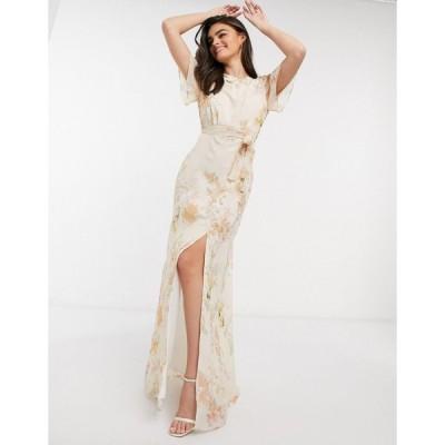 ホープアンドアイビー マキシドレス レディース Hope & Ivy bridesmaid draped back maxi dress in peach floral エイソス ASOS