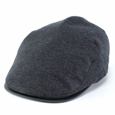 ハンチング 帽子 メンズ ミラショーン フランネル コットン フェイクレザー 秋冬 洗える帽子 チャコールグレー
