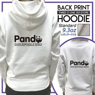 パーカー レディース フード付き スウェット プルオーバー 長袖 バックプリント panda ぱんだ パンダ ロゴ 動物 アニマル おもしろ