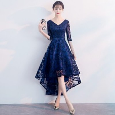 Vネック 透け感 レース刺繍 シンプル フィッシュテール セクシー エレガント ウエストマーク ドレス