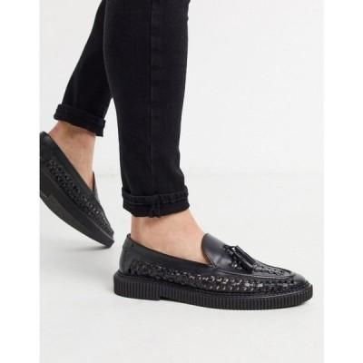 ハウスオブハウンズ House of Hounds メンズ ローファー シューズ・靴 orion woven loafers in black leather ブラック