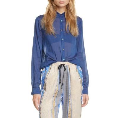 フォルテ フォルテ シャツ トップス レディース Cotton & Silk Shirt Indaco