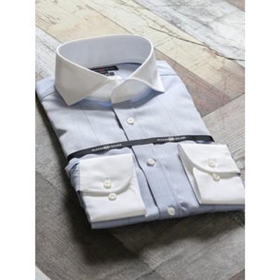 綿100%形態安定スリムフィット カッタウェイクレリック長袖ビジネスドレスシャツ/ワイシャツ