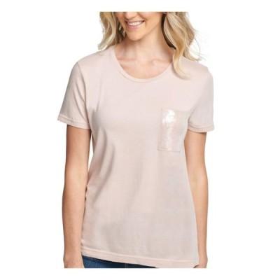 レディース 衣類 トップス DKNY Womens Pink Short Sleeve Crew Neck T-Shirt Top Size: XL ブラウス&シャツ