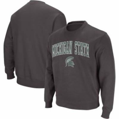 Colosseum コロセウム スポーツ用品  Colosseum Michigan State Spartans Charcoal Arch & Logo Crew Neck Sweatshirt