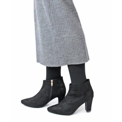 ブーツ 7cmチャンキーヒールポインテッドトゥ美脚ショートブーツ