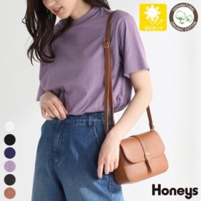 トップス Tシャツ オーガニックコットン 綿100% ゆったり ハイネック レディース 春新作 夏新作 Honeys ハニーズ ハイネックTシャツ