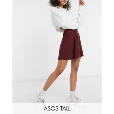 エイソス ASOS Tall レディース ミニスカート スカート Asos Design Tall Flippy Mini Skirt In Rib In Wine ワイン