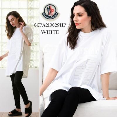 モンクレール レディース Tシャツ MONCLER ロゴ プリント クルーネック 半袖 オーバーサイズ ビッグシルエット ブランド トップス MCL8C7A210829HP