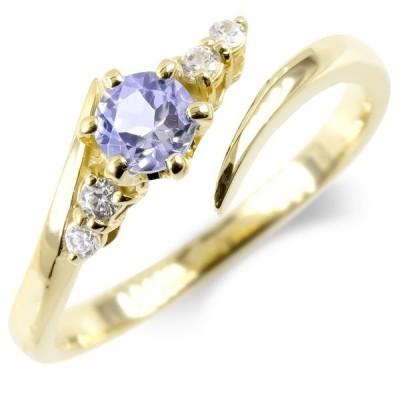 婚約指輪 安い ゴールド フリーサイズリング レディース タンザナイト ダイヤモンド 指輪 イエローゴールドk10 エンゲージリング ピンキーリング 女性 送料無料