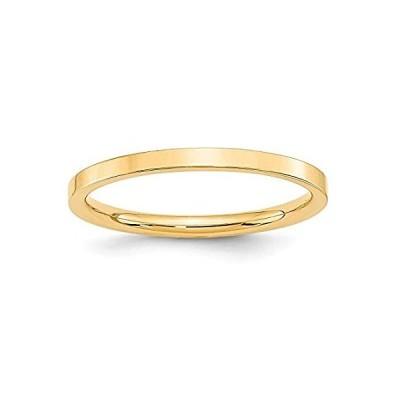 【新品】Solid 14k Yellow Gold 2mm Flat Comfort Fit Plain Classic Wedding Band Ring
