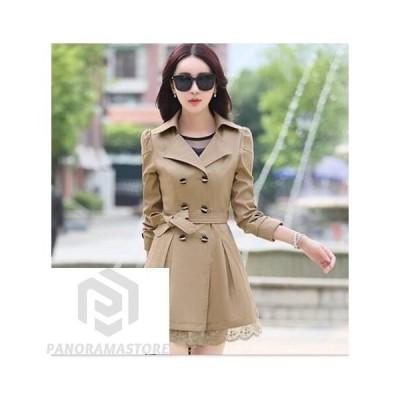 トレンチ コート スプリングコート ロング クラッシック スプリングコート トレンチコートAライン魅力的エレガント/レース裾