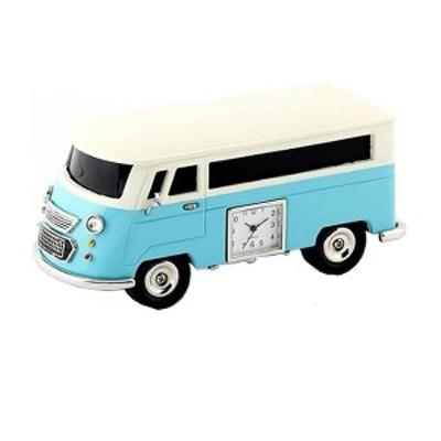 ミニチュア ブルートゥース スピーカー 機能付き 置時計 <車> BT3159-LBL  車 バス ライトブルー 水色 時計 ギフト プレゼント 贈り物