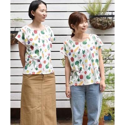 Tシャツ レディース 半袖 トップス おしゃれ カラフルベジタブル総柄プリント
