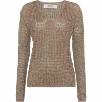 リプレイ Replay レディース ニット・セーター Vネック トップス Linen V-Neck Sweater Charcoal