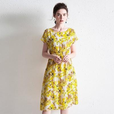 パーティドレス ♪セレブファッション 100%シルク!Aラインワンピース 夏新作 鮮やかカラーで明るく魅せる 体型カバー 他と被らない 【送料無料】