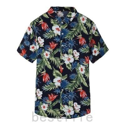 シャツカジュアルシャツメンズアロハシャツシャツ薄手花柄半袖シャツオシャレカジュアル通学シンプル個性夏