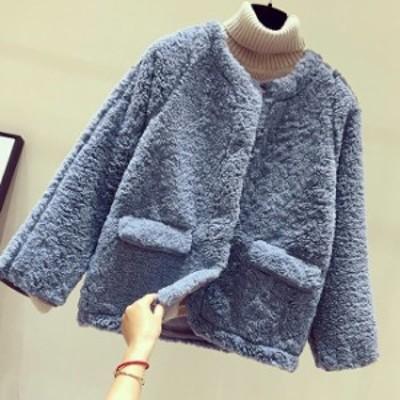 ボアジャケット レディース ボア シープボア ノーカーラー ショートジャケット ショート ジャケット 小柄 小さいサイズ 小さい 服