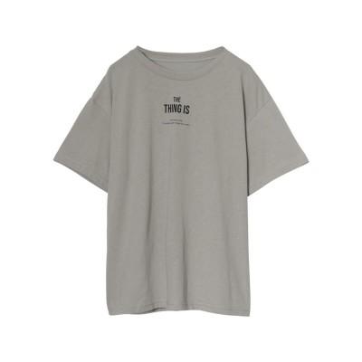 リエディ Re:EDIT [お家で洗える][人と地球にやさしい][インフルエンサーコラボ]綿天竺メッセージロゴTシャツ (サンドベージュ×ブラック)