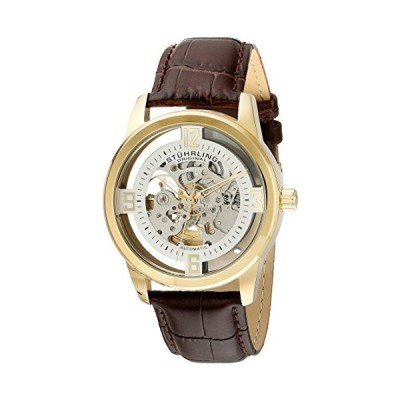 Stuhrling Original Men's 877.04 Winchester Automatic Gold-Plated Watch with Croco-Embossed Band 並行輸入品