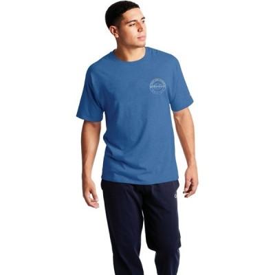 チャンピオン シャツ トップス メンズ Champion Men's Graphic Jersey Screen Print Script T-shirt Blue Medium 01