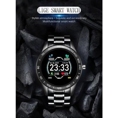 メンズスチールスマートウォッチ 防水 スポーツ アクティビティ トラッキング 心拍数/血圧モニタリング iPhone2019互換