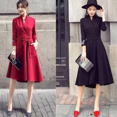 パーティ パーティードレス ワンピース 袖あり 10代 30代 レース 40代 レース 20代 黒 袖あり ワンピース 赤 袖あり 大きいサイズ ドレス