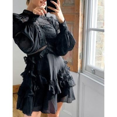 エイソス レディース ワンピース トップス ASOS DESIGN lace insert victorianna mini dress in black