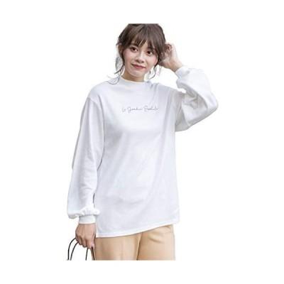 [アドティエ]スムースプチハイネックロゴプリントロングTシャツ カットソー ロンT (オフホワイト Free Size)