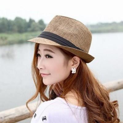 ハット ロングブリム 帽子 無地 アウトドア パナマハット 男女兼用 つば広ハット ジャズ帽