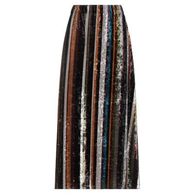 OLIVIA NICOLAI ロングスカート ブラウン M コットン 97% / ポリウレタン 3% ロングスカート