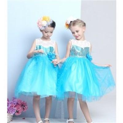ディズニープリンセス キッズ エルサ ワンピース なりきりワンピース プリンセスドレス 子どもドレス プリンセス キッズドレス