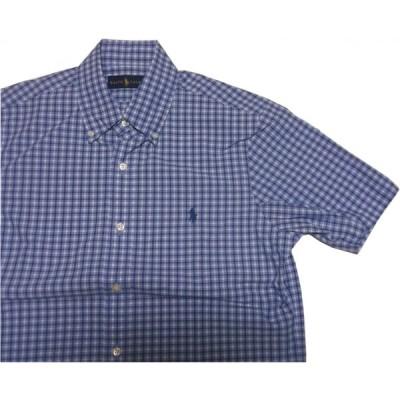 ポロ ラルフローレン 半袖 ワンポイント ボタンダウンシャツ チェック ブルー メンズ Polo Ralph Lauren 389