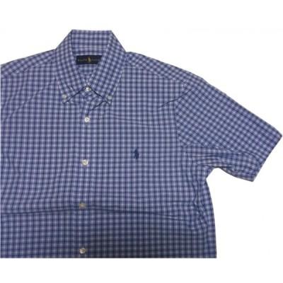 ラルフローレン 半袖 ワンポイント ボタンダウンシャツ チェック ブルー メンズ Polo Ralph Lauren 389