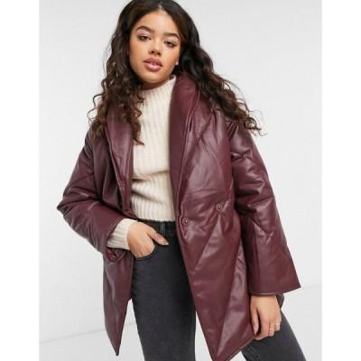 モンキ Monki レディース レザージャケット アウター Hilma Faux Leather Padded Jacket With Belt In Dark Red レッド