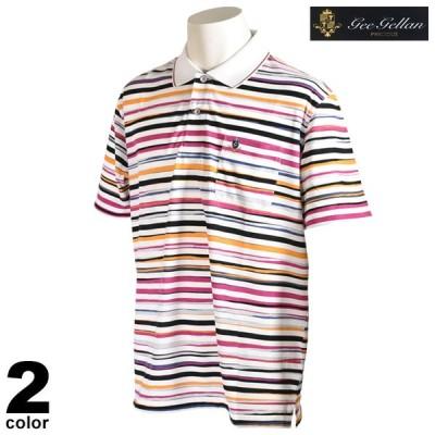 セール 70%OFF gee gellan ジーゲラン 半袖 ポロシャツ メンズ 春夏 ボーダー 刺繍 ロゴ 2210-2507